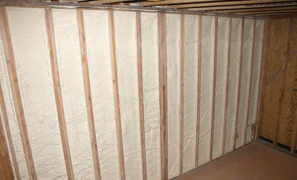 A wall insulated with spray foam in San Antonio